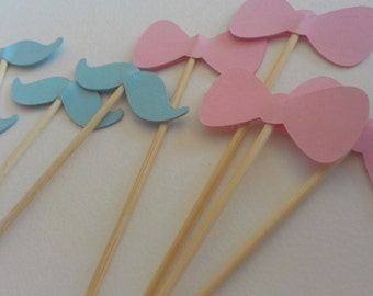 Mustache/Bow Cupcake Toppers (24)  Item Number 36216 You Choose Your Color Gender Reveal Party Twins