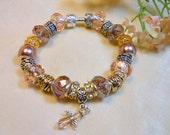 Angel Bracelet, Earthtone Pearl and Peaches Bracelet, European Style Beaded Bracelet, Classy Elegant Bracelet