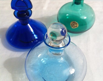 Preziose Bottiglie Vetro Cristallo Colorate Vintage