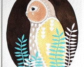 Owl Painting - Archival Print - White Owl Teva - Watercolor Art