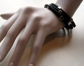 3 Beaded rubber bracelets with silver plated cubes Dutch Design model Bente