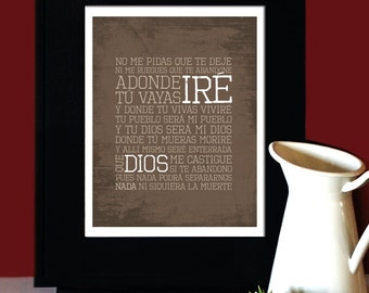 "Ruth 1:16-17, LOVE, Inspirational Quote, ""Adonde tu vayas iré"", Wedding Verse en español, Subway Art. Unframed"