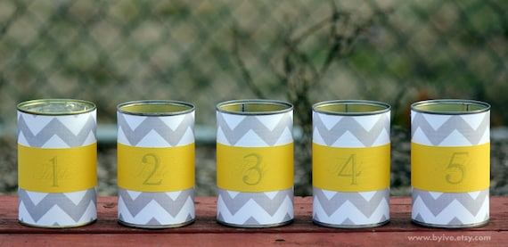 Tin Can Table Number. Wedding Vase. Upcycle Centerpiece. Gray Chevron and Yellow. Set of 5 Lovely Centerpiece.