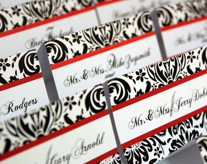 Table numbers and seating place cards. Damask Theme. Black and red. Table Number and Escort Cards.