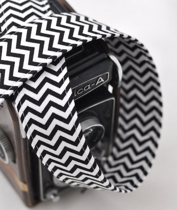 SLR Digital Chevron Camera Strap - Black and White Chevron Camera Strap for dSLRs