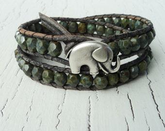 Green Elephant Leather Wrap Bracelet, Baby Elephant, Good Luck Bracelet, Olive Green Double Wrap Bracelet, Boho Bohemian, Rustic Jewelry
