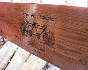 """Anniversary, wedding gift personalized two person tandem bike design tree swing 34-36"""" with rope"""