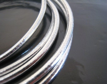 Silver - 1 Yard of 2mm or 3mm Silver Metallic Round Stretch Elastic Drawcord Rope Cord
