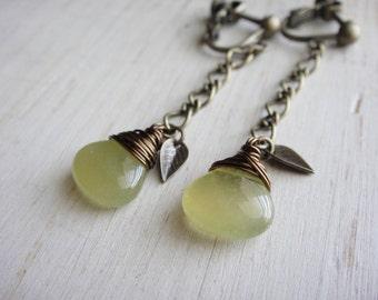 Lemon Lime Jade Clip On Earrings, Long Chain Earrings, screw back, non pierced, Tiny Leaves, Wire Wrapped, Antique Brass