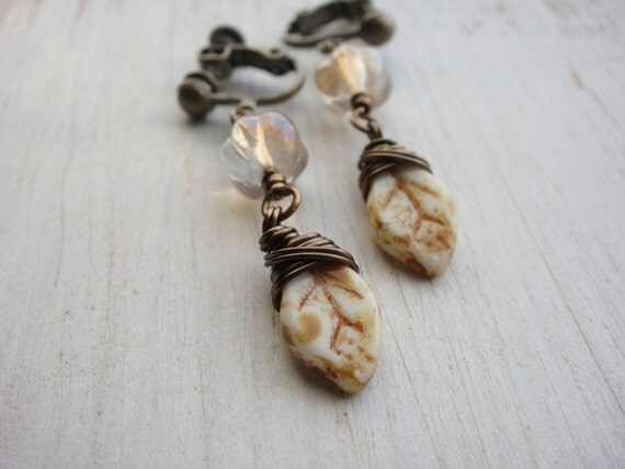 Opaque White Picasso Leaf with Champagne/Gold Melon Czech Beads Clip on