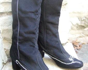 1970s Crystal Rhinestone Black Cloth Boots US Size 6 M