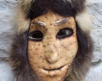 RARE Alaska Eskimo Caribou Skin Mask  VINTAGE