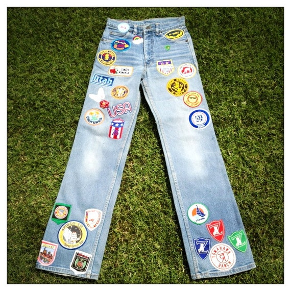 RESERVED - SUPER 70s Heavily Patched Hippie Boho Vintage Levi's High-Waisted Denim Jeans - Size 28w x 32L