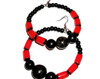 SALE - Red and Black Nut Beads Hoops