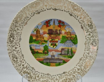 Vintage Ohio State Souvenir Plate Gold Trim Buckeyes Wall Hanging Home Decor