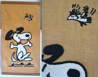 Vintage Snoopy Burlap Tapestry. Long Tall Wall Hanging. Peanuts, Woodstock, 1960 1970 60 70. collectible Cartoon Comic Unique