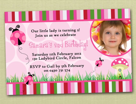 Photo personalised ladybird ladybug birthday invitations you print il570xn filmwisefo