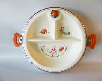 Children's Vintage Divided Warming Plate With Bakelite Handles