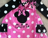 Hot pink Minnie Mouse inspired romper and over the top bow