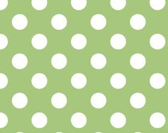 Green Polka Dot Fabric - Quilting Fabric - Nursery Fabric - Sale Fabric - Riley Blake