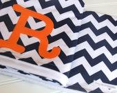 Chevron Stripe Monogrammed Crib Blanket, Navy Chevron Stripe Nursery Bedding, Chevron Baby Blanket, Baby Blanket