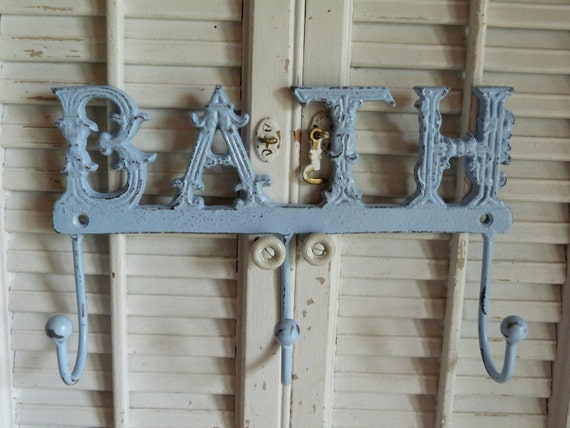 baby blue bath sign iron bath hook white cottage bathroom. Black Bedroom Furniture Sets. Home Design Ideas