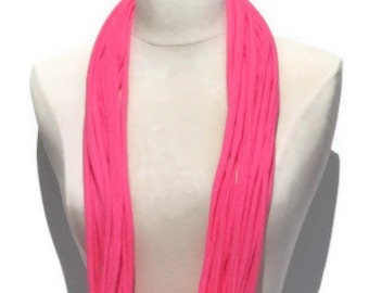 Neon Hot Pink Upcycled Infinity T-shirt Scarf
