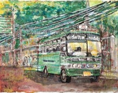 Green Bus, acrylic color on handmade  paper