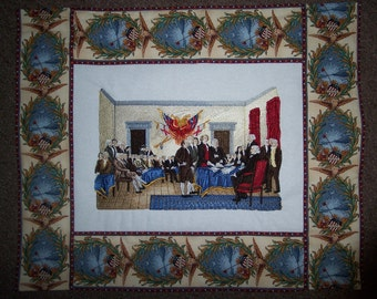 """Embroidered """"Signing of the Declaration of Indenpendence"""" Wallhanging"""