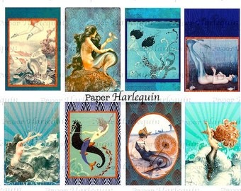 Mermaid ART DECO Vintage Printable Tags for Cards Scrapbooks Journals Albums Altered Art ATC