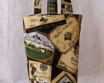 Wine Tote / Handmade Fabric Wine Carrier / Wine Gift Bag / Wine Bag with Wine Label Cotton Fabric