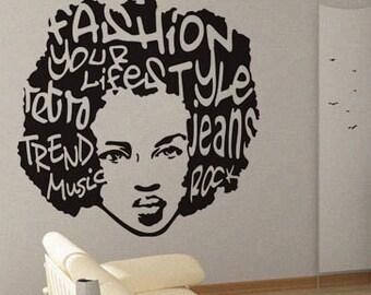 Trend Music Afro - Wall Decal Vinyl Decor Art Modern Removable Sticker Mural uBer Decals A448