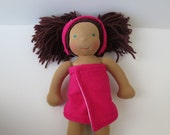 Doll Towel and Headband - Bright Pink - Fits 14 to 16 Inch Dolls
