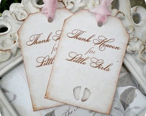 Thank Heaven for Little Girls Baby Shower Favor Tags - Vintage Inspired - Cottage Chic - Set of 6 - Showers, Favors