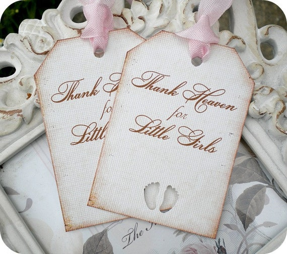Baby Shower Favors Vintage ~ Items similar to thank heaven for little girls gift tags