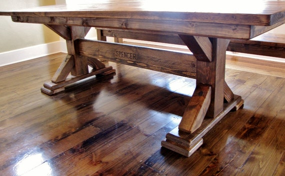 Items similar to Single Post Pedestal Farmhouse Table on Etsy