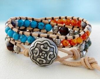 Little Texas... Leather wrap bracelet... double wrap leather bracelet... Original OceanBead Style.