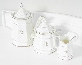 Large Antique Victorian White Pottery Tea Set