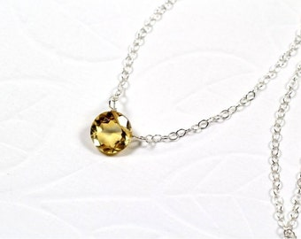 November Birthstone Choker Necklace, Citrine Round Cut Briolette, Sterling Silver Chain, Sterling Silver Wire. Gift for Her. Yellow. N157.
