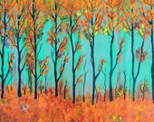 SONG of INDIAN SUMMER  Large Abstract Tree Art Original Landscape Painting by suzeee - SUZEEE