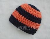 Crochet Baby Hat- Orange and Black Striped