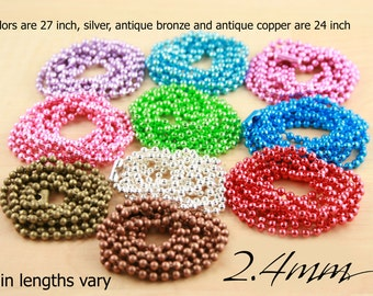 50 2.4mm Colored Ball Chain Necklaces with Connectors, 24 inch and 27 inch Necklace length. High Quality. Ships from USA