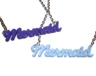 Frosted Acrylic Mermaid Necklace, Kawaii Light Blue or Purple Laser Cut Pendant