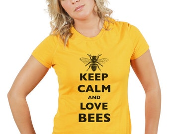 Keep Calm and Love Bees T-Shirt - Soft Cotton T Shirts for Women, Men/Unisex, Kids