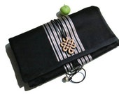 Jewelry Roll - Black Fabric with Middle Eastern Satin Handmade