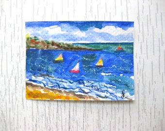 ACEO Original Watercolor and Ink Ocean Painting Sailboats Clouds Marine art Nautical