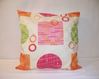 """SALE 14"""" x 14"""" Ivory Modern Print with Pink, Green and Orange Circles and Woven Print Decorative Pillow Cover"""
