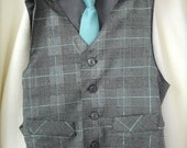 Size  XXL 11-12yrs Grey/Black plaid with aqua blue stripe boys  vest only