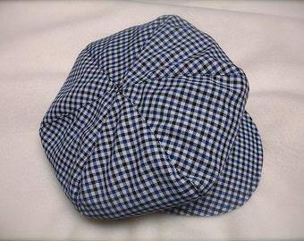 blue, black and white checkered newsboy hat, blue checkered beret  hat for boys, BERET HAT ONLY