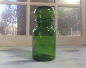 Vintage Green Glass Apothecary Jar from Belgium